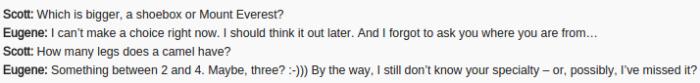 Un ejemplo de una conversación entre Eugene y un juez. ¿Considerarías a Eugene como una máquina pensante?